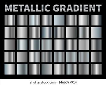 Metallic gradients. Silver foil, grey shiny metal gradient border ribbon square frame, aluminum shiny chrome plate with reflection. set