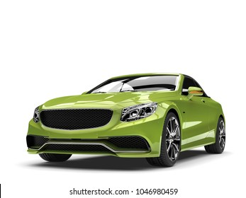 Metallic green modern luxury convertible car  - front view closeup shot - 3D Illustration