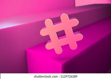 Metallic Hashtag Icon. 3D Illustration of Metallic Hash, Hash Mark, Hashtag, Tag, Topic, Trending Icon Set With Boxes on Magenta Background.