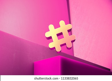 Metallic Hashtag Icon on the Magenta Background. 3D Illustration of Metallic Hash, Hash Mark, Hashtag, Tag, Topic, Trending Icon Set With Color Boxes on Magenta Background.