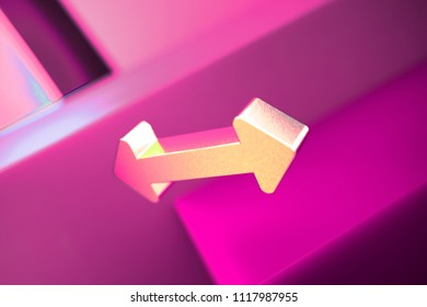 Metallic Horizontal Arrows Icon on the Geometric Background. 3D Illustration of Metallic Arrows, Bi Directional, Horizontal, Pass Icon Set With Pink Boxes.