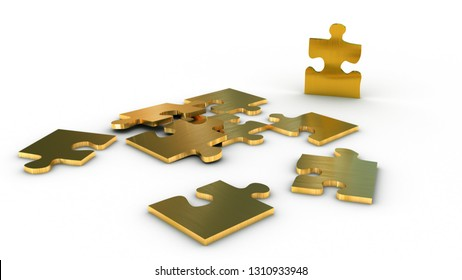 Metallic jigsaw puzzle with an outstending golden piece - 3d render