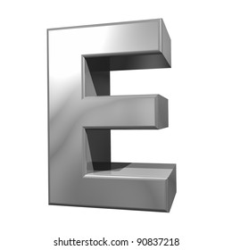metallic letter E isolated on white background