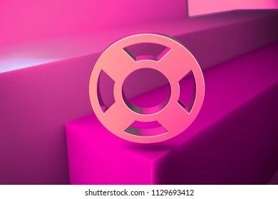 Metallic Life Ring Icon. 3D Illustration of Metallic Floatation Device, Guardar, Life Buoy, Life Ring, Life Save Icon Set With Boxes on Magenta Background.