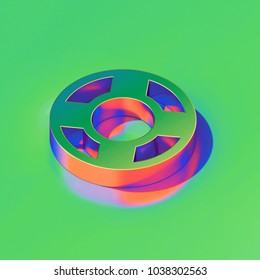 Metallic Life Ring Icon on Candy Style Green Background. 3D Illustration of Floatation Device, Guardar, Life Buoy, Life Ring, Life Save Isometric Icon Set.