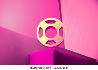 Metallic Life Ring Icon on the Magenta Background. 3D Illustration of Metallic Floatation Device, Guardar, Life Buoy, Life Ring, Life Save Icon Set With Color Boxes on Magenta Background.