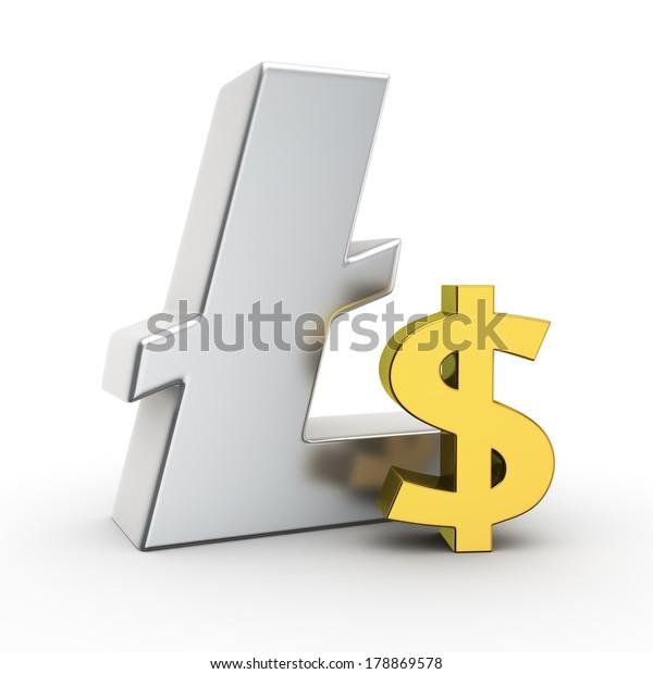 Metallic Litecoin symbol with small golden dollar sign