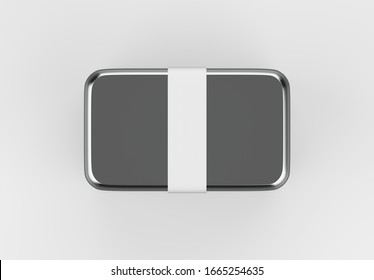 Metallic Lunch Box with label Mockup template isolated on light grey background, 3d illustration.