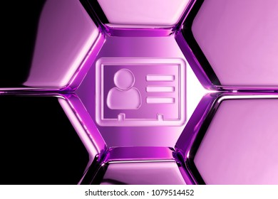 Metallic Magenta Vcard Icon in the Luxury Honeycomb. 3D Illustration of Magenta v Card, v Card, Vcard, Vcard File, Vcard File Icons on Magenta Geometric Hexagon Pattern.