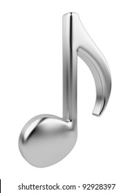 Metallic music note 3D. Icon isolated on white background