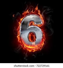 Metallic number on fire. 3d illustration.