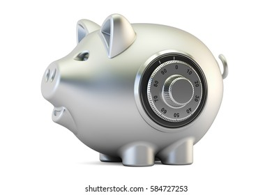 metallic piggy bank with safe combination dial lock, 3D rendering isolated on white background