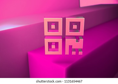 Metallic Qrcode Icon. 3D Illustration of Metallic Barcode, Code, Qr, Qrcode, Quick Response, Scan Icon Set With Boxes on Magenta Background.