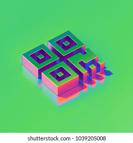 Metallic Qrcode Icon on Candy Style Green Background. 3D Illustration of Barcode, Code, Qr, Qrcode, Quick Response, Scan Isometric Icon Set.