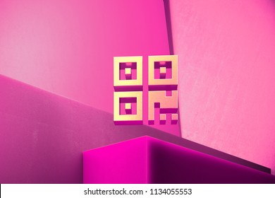 Metallic Qrcode Icon on the Magenta Background. 3D Illustration of Metallic Barcode, Code, Qr, Qrcode, Quick Response, Scan Icon Set With Color Boxes on Magenta Background.