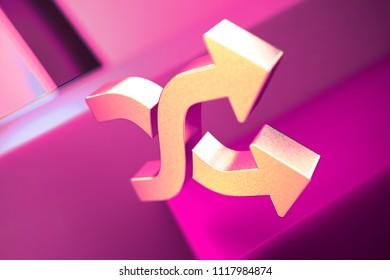Metallic Random Icon on the Geometric Background. 3D Illustration of Metallic Mix, Random, Shuffle, Shuffle Songs Icon Set With Pink Boxes.
