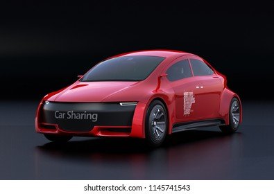Metallic red electric car on black background. 3D rendering image.