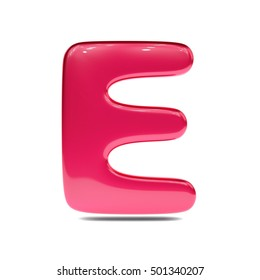 Metallic red paint letter E uppercase. 3D render of bubble font with glint isolated on white background.