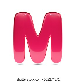 Metallic red paint letter M uppercase. 3D render of bubble font with glint isolated on white background.