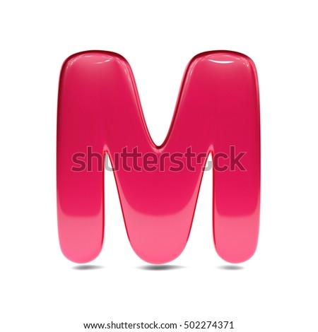 metallic red paint letter m uppercase 3d render of bubble font with glint isolated on