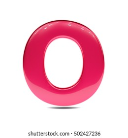 Metallic red paint letter O uppercase. 3D render of bubble font with glint isolated on white background.