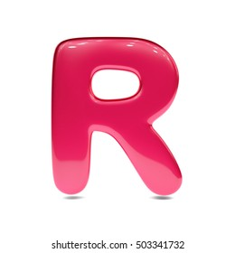 Metallic red paint letter R uppercase. 3D render of bubble font with glint isolated on white background.