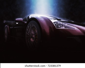Metallic red racing supercar - epic lighting shot - 3D Illustration