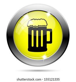 Metallic round glossy icon with black design on yellow background
