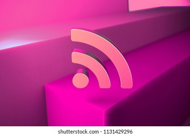 Metallic Rss Feed Icon. 3D Illustration of Metallic Blog, Feed, News, Rss Icon Set With Boxes on Magenta Background.