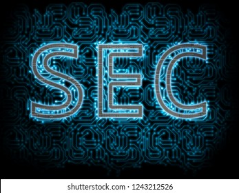 Metallic SEC (Security Exchange Commission) text with blue glowing led circuit board inside on blue background. SEC delays decision approving ETF fund causing crypto market stumble down.