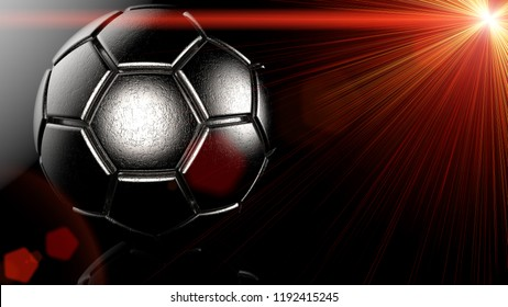 Metallic silver Soccer ball with red flash light under black background. 3D illustration. 3D high quality rendering.