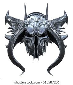 Metallic skull design isolated on white background. 3D illustration