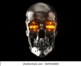 Metallic skull with red hot burning eyes - 3D Illustration