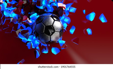 Metallic Soccer ball breaking with great force through blue illuminated red wall under spot light background. 3D high quality rendering. 3D illustration.