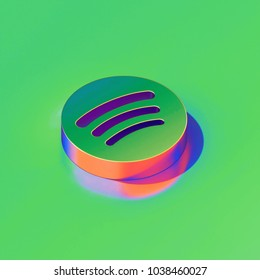 Metallic Spotify Icon on Candy Style Green Background. 3D Illustration of Audio, Audio Streaming, Music Isometric Icon Set.