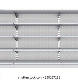 Metallic supermarket empty shelves from front. 3d render