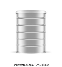 Metallic Tin Can Mockup, packaging for dry food, 3d rendering