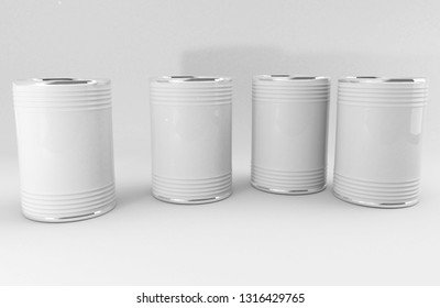 Metallic tin cans. Metal jars mock up. White background. Tin box. Canister. 3D rendering