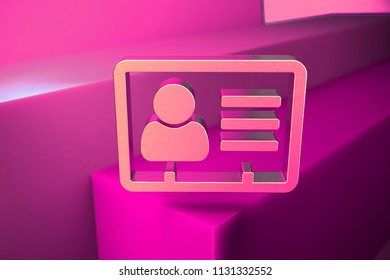 Metallic Vcard Icon. 3D Illustration of Metallic v Card, v Card, Vcard, Vcard File, Vcard File Icon Set With Boxes on Magenta Background.