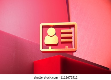 Metallic Vcard Icon on the Classic Red Background. 3D Illustration of Metallic v Card, v Card, Vcard, Vcard File, Vcard File Icon Set With Color Boxes on Red Background.