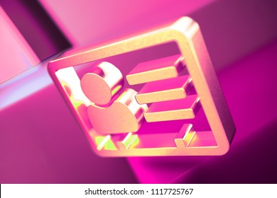 Metallic Vcard Icon on the Geometric Background. 3D Illustration of Metallic v Card, v Card, Vcard, Vcard File, Vcard File Icon Set With Pink Boxes.