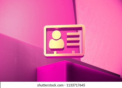 Metallic Vcard Icon on the Magenta Background. 3D Illustration of Metallic v Card, v Card, Vcard, Vcard File, Vcard File Icon Set With Color Boxes on Magenta Background.