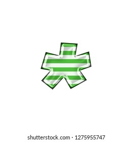 Metallic white & green striped asterisk or star shape symbol in a 3D illustration with thin green color stripes & a shiny metal effect in a basic bold font isolated on a white background