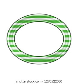 Metallic white & green striped oval outline or ellipse shape ring design element in a 3D illustration with thin green color stripes & a shiny metal effect isolated on a white background