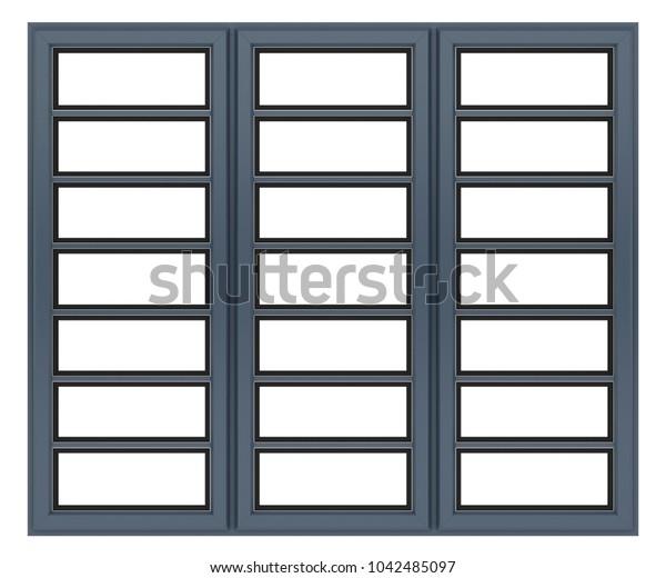 metallic window isolated on white background. 3d illustration
