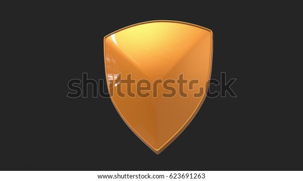 metallic yellow shield. 3d illustration isolated on dark background