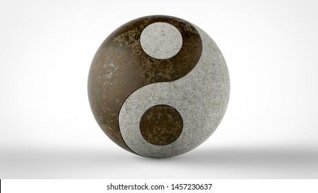 metallic Yin & Yang 3d render