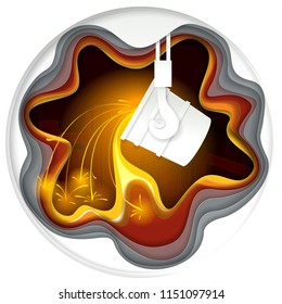 Metallurgical industry concept illustration in paper cut style. Melting iron process, ladle for melting steel. Origami metallurgy emblem.