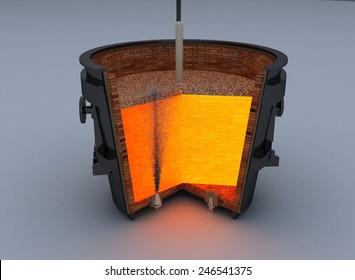 metallurgical ladle furnace isolated on white background