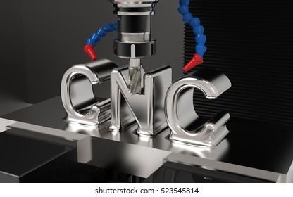 Metalworking CNC milling machine. Cutting metal with CNC Text